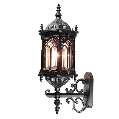 Medieval Style Outdoor Wall Lighting Black Clear Glass New Inside Clarence Black Outdoor Wall Lanterns (View 13 of 20)