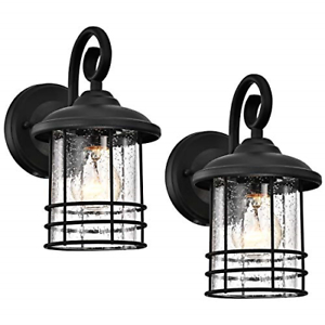 Micsiu Outdoor Wall Lantern 1 Light 2 Pack Exterior Wall Intended For Chicopee 2 – Bulb Glass Outdoor Wall Lanterns (View 8 of 20)