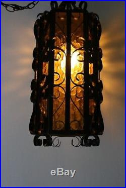 Mid Century Mexican Wrought Iron And Textured Amber Glass With Regard To Sheard Textured Black 2 – Bulb Wall Lanterns (View 2 of 20)