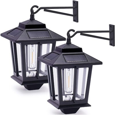 Mingshanancient 2 Pack Solar Wall Lanterns With 4 Solar Inside Ballina Matte Black Outdoor Wall Lanterns With Dusk To Dawn (View 1 of 20)