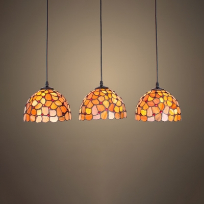 Multi Color Dome Pendant Light 3 Lights Tiffany Rustic With Regard To Gillian 3 – Bulb Beveled Glass Outdoor Wall Lanterns (View 17 of 20)