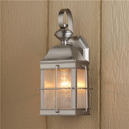 Nautical Lantern Outdoor Wall Light Satin Nickel $99 Within Borde Black Outdoor Wall Lanterns (View 12 of 20)