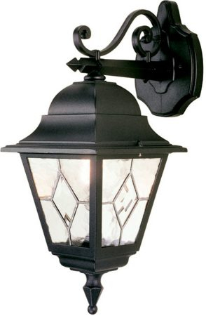 Norfolk Traditional Black Outdoor Wall Lantern Downward Inside Garneau Black Wall Lanterns (View 7 of 20)