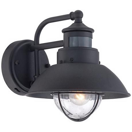"""Oberlin 9""""h Black Dusk To Dawn Motion Sensor Outdoor Light Pertaining To Gunnora Outdoor Barn Lights With Dusk To Dawn (View 19 of 20)"""