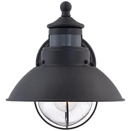 """Oberlin 9""""h Black Dusk To Dawn Motion Sensor Outdoor Light With Regard To Brook Black Seeded Glass Outdoor Wall Lanterns With Dusk To Dawn (View 16 of 20)"""