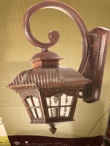 One Antique Rust Water Glass Portfolio Outdoor Wall Throughout Bayou Beveled Glass Outdoor Wall Lanterns (View 14 of 20)