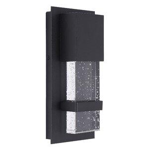 Orren Ellis Pelkey Matte Black 10'' H Integrated Led With Ketner Matte Black Integrated Led Seeded Glass Outdoor Flush Mount (View 5 of 20)