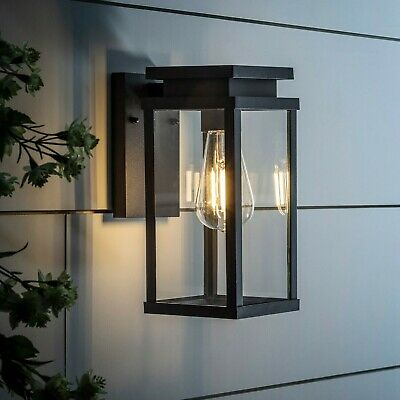 Outdoor Black Metal Lantern Modern Wall Light E27 Mains With Armanno Matte Black Wall Lanterns (View 15 of 20)