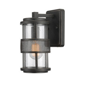 Outdoor Lighting | Globe Electric Throughout Ketner Matte Black Integrated Led Seeded Glass Outdoor Flush Mount (View 12 of 20)