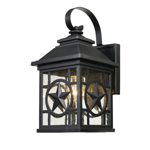 Outdoor Wall Lantern Sconce Texas Star Metal Clear Seeded Pertaining To Brook Black Seeded Glass Outdoor Wall Lanterns With Dusk To Dawn (View 15 of 20)