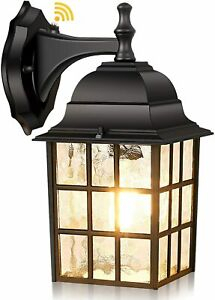 Outdoor Wall Lantern W/ Dusk To Dawn Photocell Sensor Intended For Vendramin Black Glass Outdoor Wall Lanterns (View 19 of 20)