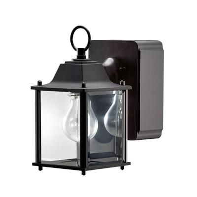 Outdoor Wall Light With Built In Outlet   Interior Throughout Garneau Black Wall Lanterns (View 17 of 20)