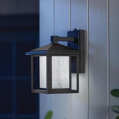 Outdoor Wall Lighting – Outdoor Lighting – The Home Depot With Regard To Brook Black Seeded Glass Outdoor Wall Lanterns With Dusk To Dawn (View 6 of 20)