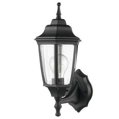 Oxford 1 Light Matte Black And Clear Glass Outdoor Upward Inside Chicopee 2 – Bulb Glass Outdoor Wall Lanterns (View 5 of 20)
