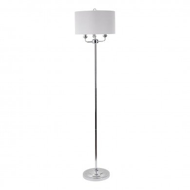 Pair Of 3 Light Chrome Floor Standard Light With Grey In Cantrall 2 – Bulb Outdoor Armed Sconces (View 17 of 20)