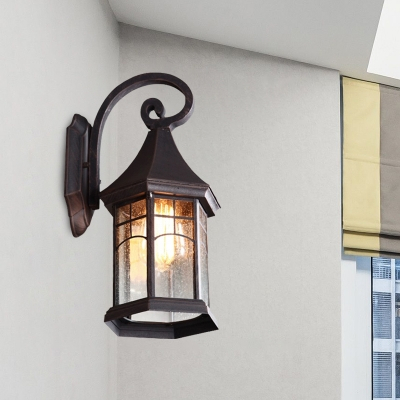 Pavilion Seeded Glass Wall Light Sconce Farmhouse 1 Head With Regard To Palma Black/clear Seeded Glass Outdoor Wall Lanterns (View 5 of 20)