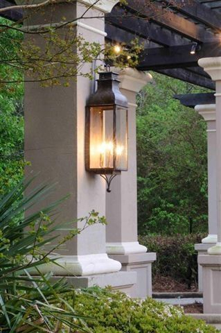 Pinrobyn On Southern Elegance   Copper Lighting Inside Vendramin Black Glass Outdoor Wall Lanterns (View 18 of 20)