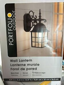 Portfolio Outdoor Wall Lantern ~metal Black Finish Frosted For Rockmeade Black Outdoor Wall Lanterns (View 20 of 20)