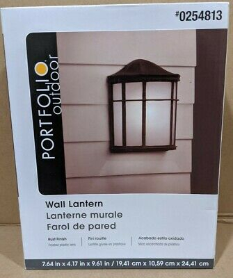 Portfolio Wall Lantern Rust Finish Outdoor Wall Light Inside Clarence Black Outdoor Wall Lanterns (View 20 of 20)