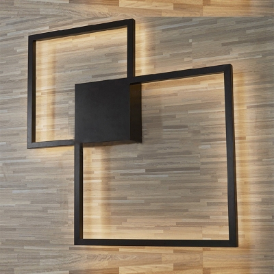 Post Modern Minimalist Black Square Led Wall Sconce Metal Throughout Roden Black 3 Bulb Outdoor Wall Lanterns (View 20 of 20)