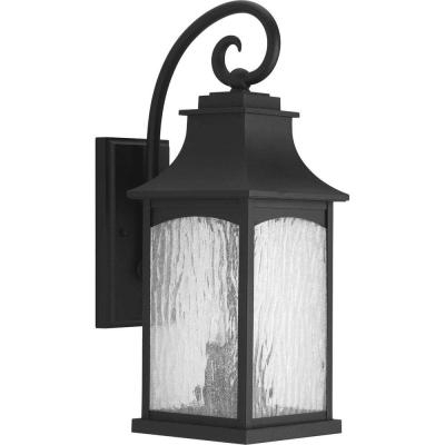 Progress Lighting Maison Collection 1 Light Textured Black Pertaining To Palma Black/clear Seeded Glass Outdoor Wall Lanterns (View 6 of 20)