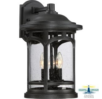 Quoizel Mbh8411k Mystic Black Marblehead 3 Light 17 3/4 Intended For Payeur Hammered Glass Outdoor Wall Lanterns (View 12 of 20)