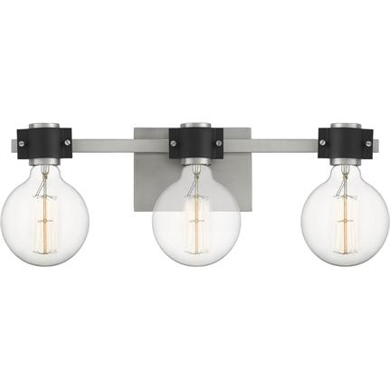 Quoizel cue8622an bath 3 Light Antique Nickel Intended For Ainsworth Earth Black Outdoor Wall Lanterns (View 7 of 20)