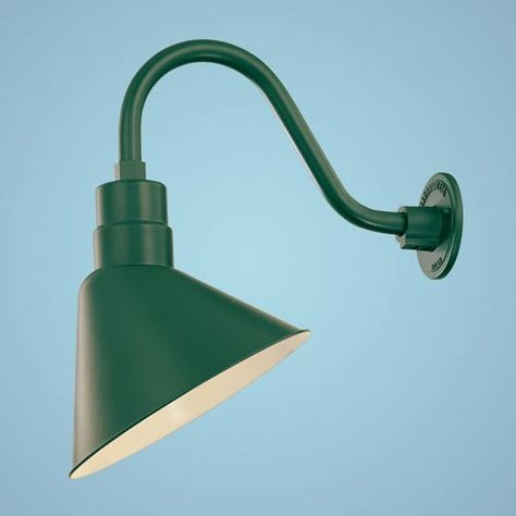 R Series Satin Green 12 Inch Angle Outdoor Wall Mount With Pertaining To Abernethy Outdoor Wall Lanterns (View 17 of 20)