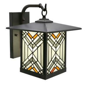 Regal 1 Light Bronze Outdoor Mission Stained Glass Wall Pertaining To Faunce Beveled Glass Outdoor Wall Lanterns (View 18 of 20)