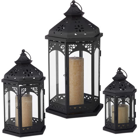 Relaxdays Set Of 3 Lanterns, Decorative In & Outdoor Intended For Socorro Black Outdoor Wall Lanterns (View 11 of 20)