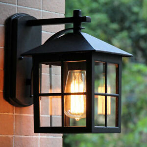Retro Black Metal Lantern Clear Glass Square Outdoor Wall Throughout Payeur Hammered Glass Outdoor Wall Lanterns (View 13 of 20)