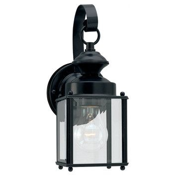 Sea Gull Lighting 1 Light Outdoor Wall Lantern $46 | Black In Clarisa Seeded Glass Outdoor Barn Lights With Dusk To Dawn (View 6 of 20)