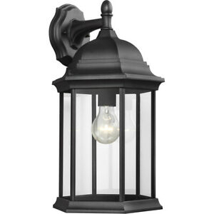 Sea Gull Lighting 8438701 12 Sevier 1 Light 19 Inch Black With Regard To Socorro Black Outdoor Wall Lanterns (View 7 of 20)