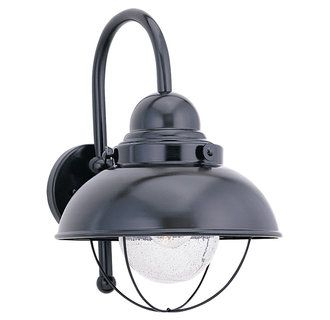 Sea Gull Lighting 8870 12 Black Sebring 1 Light Outdoor Intended For Clarisa Seeded Glass Outdoor Barn Lights With Dusk To Dawn (View 18 of 20)