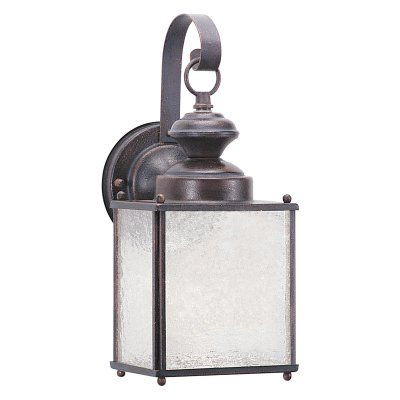 Sea Gull Lighting Jamestowne 8938 Outdoor Wall Lantern With Clarisa Seeded Glass Outdoor Barn Lights With Dusk To Dawn (View 10 of 20)
