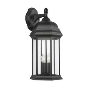 Sea Gull Lighting Sevier 3 Light Black Outdoor Wall With Regard To Brierly Oil Rubbed Bronze/black Outdoor Wall Lanterns (View 12 of 20)