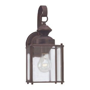 Sea Gull S845771 Jamestowne Entrance Outdoor Wall Light With Clarisa Seeded Glass Outdoor Barn Lights With Dusk To Dawn (View 12 of 20)
