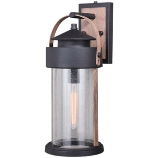 Shop Cumberland 1 Light Dusk To Dawn Brown Wood Rustic In Ballina Matte Black Outdoor Wall Lanterns With Dusk To Dawn (View 12 of 20)