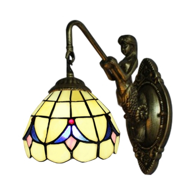 Single Light Mermaid Wall Sconce 6 Inch Mini Size In Pertaining To Gillian 3 – Bulb Beveled Glass Outdoor Wall Lanterns (View 15 of 20)