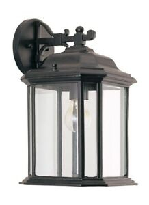 Single Light Outdoor Wall Lantern Black Finish Clear In Faunce Beveled Glass Outdoor Wall Lanterns (View 3 of 20)