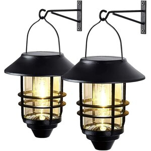 Spicymedia 2 Pack Solar Wall Lanterns With 4 Solar Panels Regarding Ballina Matte Black Outdoor Wall Lanterns With Dusk To Dawn (View 14 of 20)