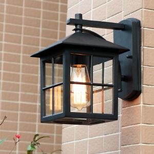 Square Metal Lantern Clear Glass Courtyard Wall Light Throughout Meunier Glass Outdoor Wall Lanterns (View 8 of 20)