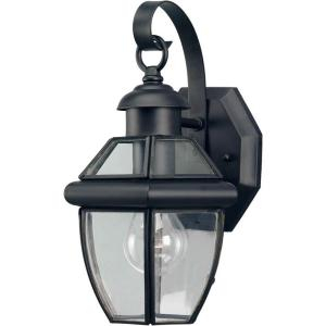 Talista 1 Light Outdoor Black Wall Lantern With Clear Intended For Bayou Beveled Glass Outdoor Wall Lanterns (View 5 of 20)