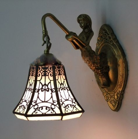 Tiffany Baroque Vintage Stained Glass Iron Mermaid Wall Within Bayou Beveled Glass Outdoor Wall Lanterns (View 20 of 20)