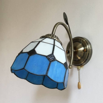 Tiffany Brass Wall Light Cone/dome 1 Light Stained Glass In Gillian 3 – Bulb Beveled Glass Outdoor Wall Lanterns (View 16 of 20)