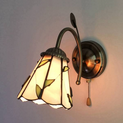 Tiffany Brass Wall Light Cone/dome 1 Light Stained Glass Inside Gillian 3 – Bulb Beveled Glass Outdoor Wall Lanterns (View 13 of 20)