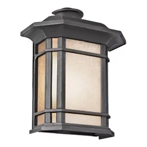 Two Light Rust Tea Stained Linen Glass Wall Lantern Regarding Powell Beveled Glass Outdoor Wall Lanterns (View 19 of 20)