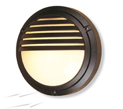 V405bl – Verona Round Outdoor Wall Light In Black, Grilled With Regard To Roden Black 3 Bulb Outdoor Wall Lanterns (View 16 of 20)