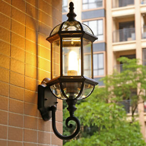 Vintage Black/brass Lantern Glass Shade Lamp Waterproof With Vendramin Black Glass Outdoor Wall Lanterns (View 7 of 20)
