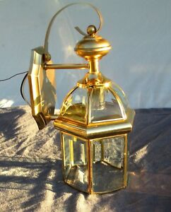 Vintage Outdoor Brass Lantern Porch Wall Light Vaxcel 1999 In Wrentham Beveled Glass Outdoor Wall Lanterns (View 13 of 20)